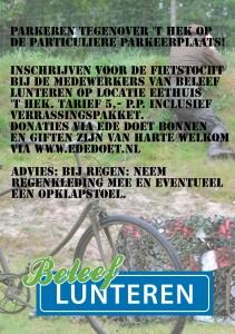 Inschrijven voor de fietstocht tussen 10.00 en 11.00u. bij Eethuis 't Hek, Meulunterseweg 32, Lunteren à 5,- p.p. Keuze uit twee afstanden langs de route van de bevrijders met wat lekkers voor onderweg! Kaartverkoop voor de voorstellingen om 11.00u en 14.30u van 10.00u tot 10.45u en van 13.30 tot 14.15u. bij 't Hek!